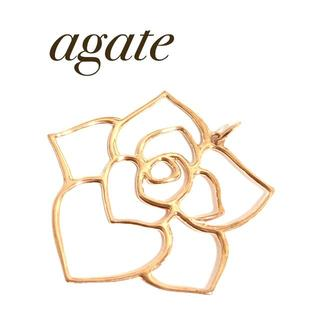 agete - agate アガット ピンクゴールド 薔薇 ローズ トップ ペンダント