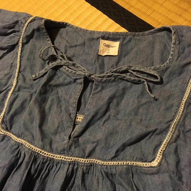 GAP(ギャップ)のGAP ダンガリー デニム シャツ カットソー チュニック ブラウス 刺繍 レディースのトップス(シャツ/ブラウス(半袖/袖なし))の商品写真