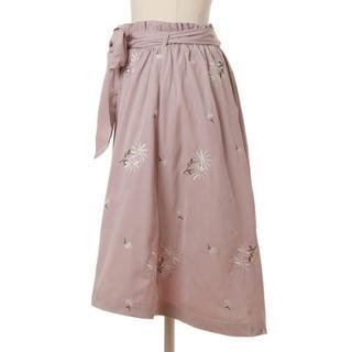 LIZ LISA - アウトレット商品★刺繍ミモレ丈スカート リズリサ ピンク フリーサイズ L237