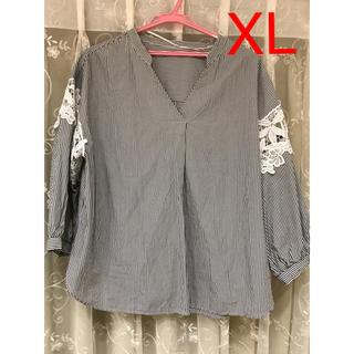 ジーユー(GU)の★GU ストライプレースコンビネーションシャツ 7分袖 ブラック XL(シャツ/ブラウス(長袖/七分))