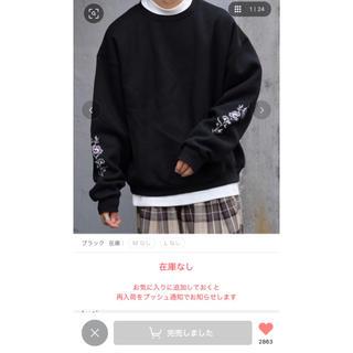 HARE - kutir  袖刺繍 スウェット  ブラック L 即日発送