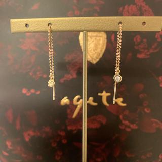 agete - agete k10 ダイヤ付きアメリカンピアス