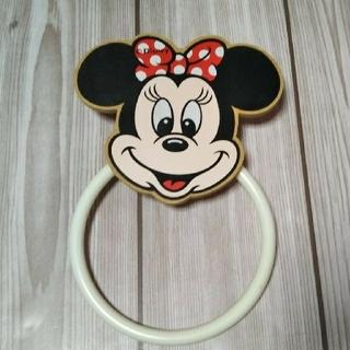 ディズニー(Disney)のレア!昭和レトロ ディズニー ミニーマウス タオル掛けハンガー★木製(押し入れ収納/ハンガー)