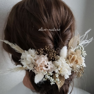 【ぺも様専用】ヘッドドレス ~パンパスグラスのホワイトゴールドstyle~(ドライフラワー)