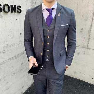 メンズスーツセットアップ人気ホスト定番ビジネス司会者スリム紳士服灰 OT057(セットアップ)