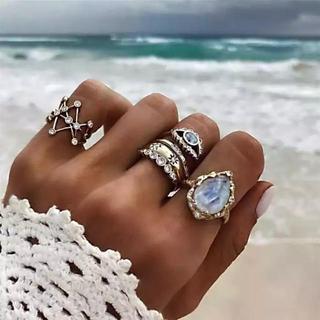 アリシアスタン(ALEXIA STAM)の海外ファッション 海 クリスタル リング シルバー ゴールド セット リング(リング(指輪))