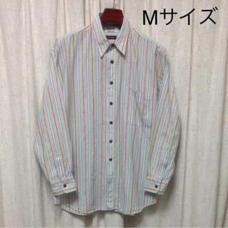 Mサイズ メンズ 長袖シャツ 青系 ストライプ 柄(シャツ)