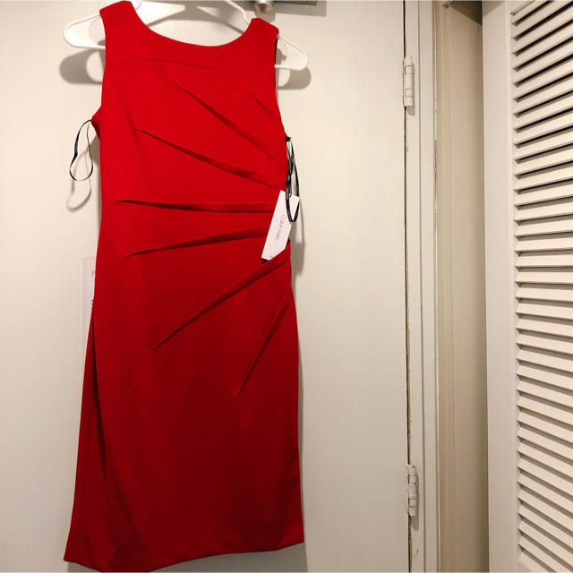 Calvin Klein(カルバンクライン)のカルバンクライン【新品タグ付き】ストレッチジャージータイトワンピース6 レディースのフォーマル/ドレス(ミディアムドレス)の商品写真