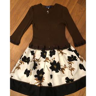 エムズグレイシー(M'S GRACY)のエムズグレーシー ジッパーカーディガン&花柄スカート 38サイズ  美品(セット/コーデ)