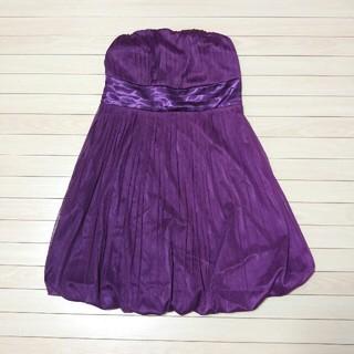 バルーンワンピース チュール ミニドレス パープル 紫 ギャザー ベアドレス(ミニドレス)