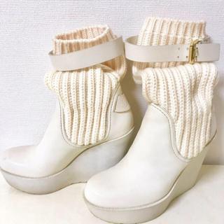 グッチ(Gucci)の美品♪ GUCCIソックスブーツ ウェッジソール(ブーツ)