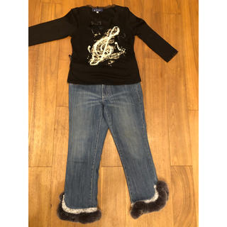 エムズグレイシー(M'S GRACY)のエムズグレーシー ロングTシャツ&トゥービーシック ファー付きジーンズ 美品(セット/コーデ)