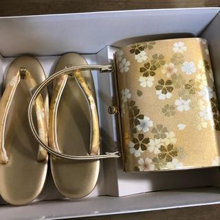 停止前値段冬値上げ 美品 和装バッグ&草履(金 薄ピンク白) 結婚式 成人式