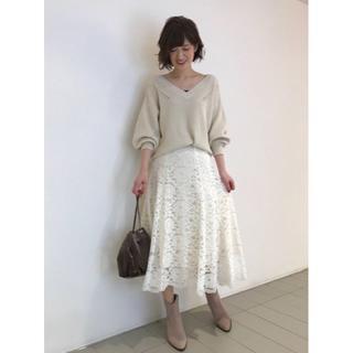 トランテアンソンドゥモード(31 Sons de mode)の☆19AW完売色 31 Sons de mode レースフレアスカート ホワイト(ひざ丈スカート)