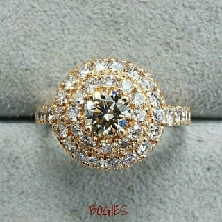ダイヤ リング k18pg シャンパンカラー 合計1.5ct 新品 (リング(指輪))