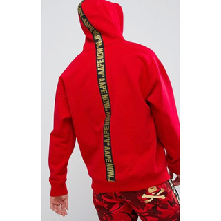 アベイシングエイプ(A BATHING APE)のAAPE BY BAPE HOODIE WITH BACK TAPING(パーカー)