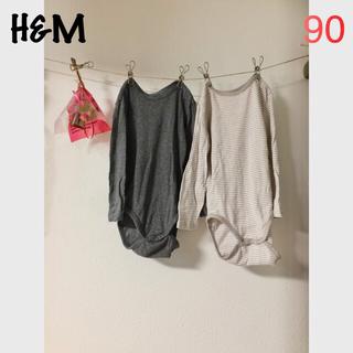 H&M - H&M 長袖ロンパース 2枚セット グレー