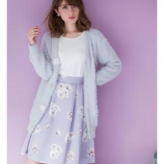 tocco - 可憐なフラワープリントで美人顔ふんわりタックグログランスカート アイスグレー
