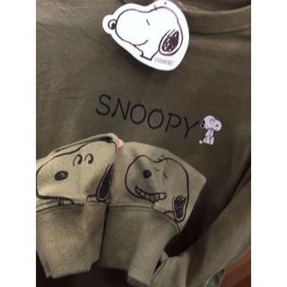 スヌーピー(SNOOPY)の新品 カーキ レディース スヌーピー SNOOPY 長袖Tシャツ ウッドストック(Tシャツ(長袖/七分))