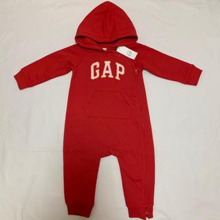 babyGAP - 新品 ベビーギャップ 裏起毛 ロゴ入り ロンパース 90 カバーオール つなぎ
