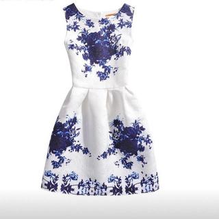 ワンピース ブルー×ホワイト 花柄 160(ワンピース)