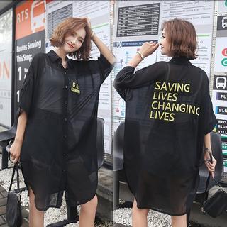 大きいサイズ レディース シースルーシャツ(シャツ/ブラウス(半袖/袖なし))