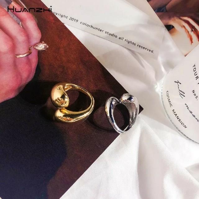 TODAYFUL(トゥデイフル)のワイド ドロップ リング 銀 シルバー ラウンド 雫 重ね付け オープン 指輪 レディースのアクセサリー(リング(指輪))の商品写真
