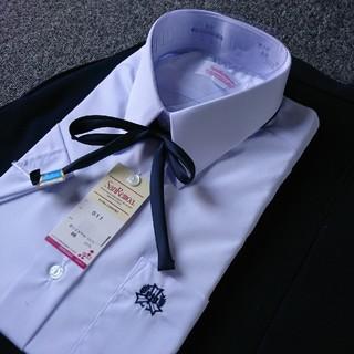 中学 高校 制服 上下セット 半袖155A 夏服 ネイビー紺 紐リボン 校章