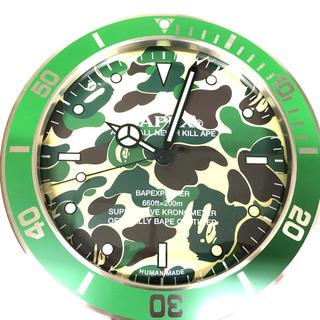 アベイシングエイプ(A BATHING APE)のAPE BAPEX WALL CLOCK GREEN CAMO 掛け時計 新品(掛時計/柱時計)