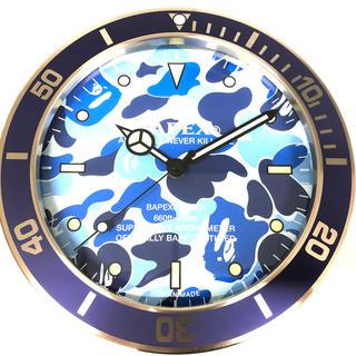 アベイシングエイプ(A BATHING APE)のAPE BAPEX WALL CLOCK BLUE CAMO 掛け時計 新品(掛時計/柱時計)