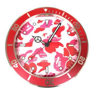 アベイシングエイプ(A BATHING APE)のAPE BAPEX WALL CLOCK PINK CAMO 掛け時計 新品(掛時計/柱時計)