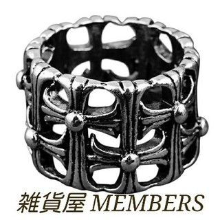 送料無料17号クロムシルバーサージカルステンレスクロス十字架セメタリーリング指輪(リング(指輪))