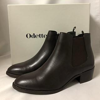 Odette e Odile - 新品未使用 odette e odile 本革サイドゴアブーツ ダークブラウン