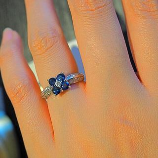 幸運の花*Pt900 美しのブルーサファイア0.80ctダイヤモンド0.23ct(リング(指輪))