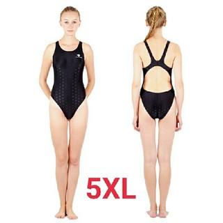 5XL SWIMHXBY レディース 競泳水着  ハイレグ ウロコ柄 黒
