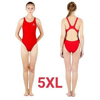 5XL SWIMHXBY レディース 競泳水着  ハイレグ ウロコ柄 赤(水着)