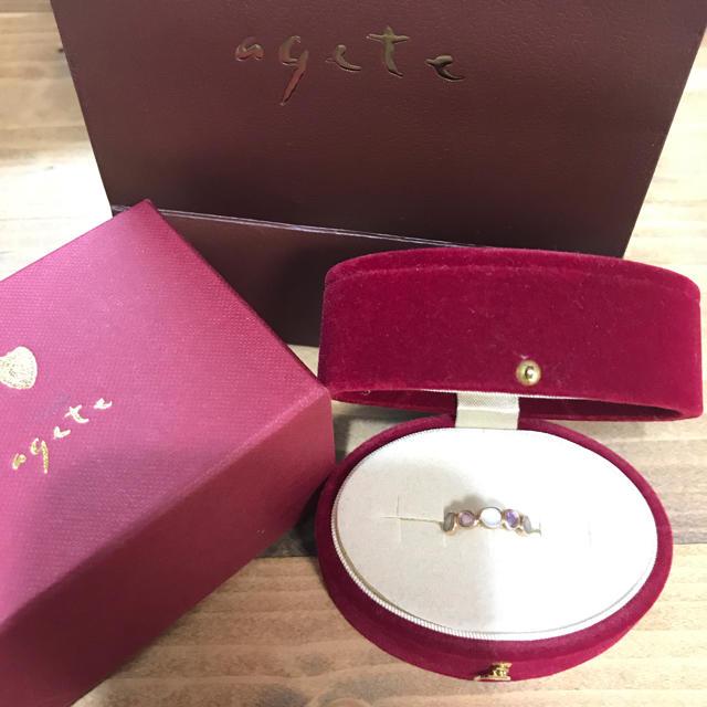 agete(アガット)の美品★agete スキニーストーンリング 9号 レディースのアクセサリー(リング(指輪))の商品写真