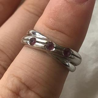 k18wg ホワイトゴールド リング 指輪 石付き(リング(指輪))