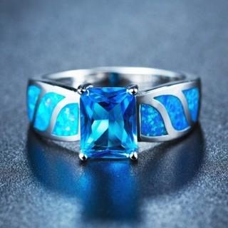 ブルーサファイアオパールリングジュエリー 長方形ファッションリング(リング(指輪))