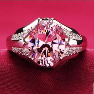 スターリングシルバー925 ピンクサファイアジェムストーンリング(リング(指輪))