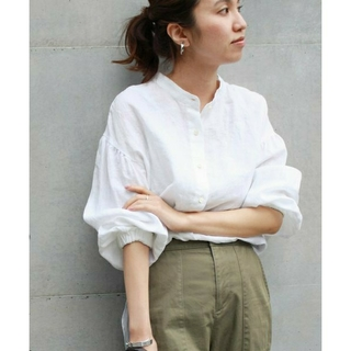 FRAMeWORK - 金子綾×FRAMeWORK マオカラー ロングシャツ リネン