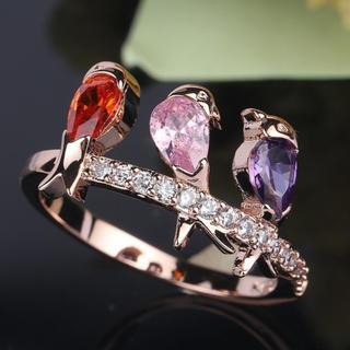18Kローズゴールド  ジルコニア  小鳥のリング(リング(指輪))