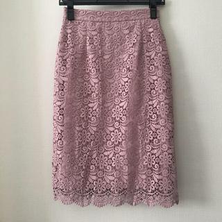 UNIQLO - UNIQLOピンクベージュ レースタイトスカート