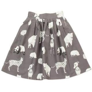 グラニフ(Graniph)の個性派♡動物いっぱいモノクロスカート(ひざ丈スカート)