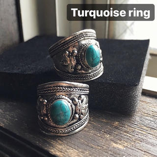 インディアンジュエリー ナバホ メンズ ターコイズ バングル リング 指輪 男(リング(指輪))