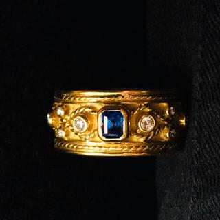 ヤーネス k18  サファイア ダイヤリング(リング(指輪))