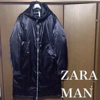 ZARA - ◯試着のみ◯ZARA MAN ダブルジップ フードダウンコート Lサイズ