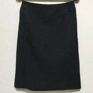 黒 両脇スリット 切り替えデザインスカート※ワケ有り(ひざ丈スカート)