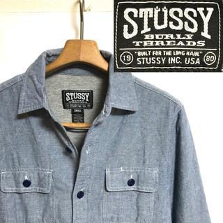 STUSSY - 美品!STUSSY ステューシー デニム 裏スウェット ワークシャツジャケット