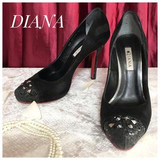 ダイアナ(DIANA)の【DIANA】ダイアナ スタッズ グリッター スエード ヒール パンプス 黒 赤(ハイヒール/パンプス)